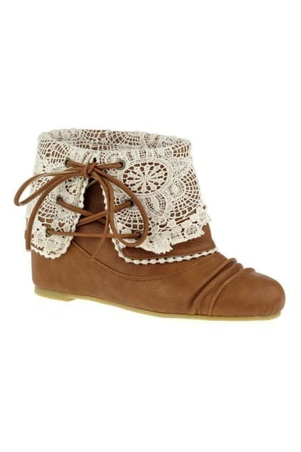 Fold Over Lace Brown Ankle Boots