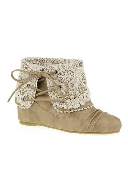 Fold Over Lace Cream Ankle Boots