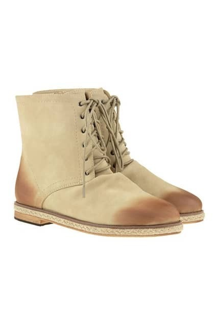 Lace Up Cream Ankle Boots
