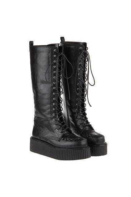 Lace Up Black Platform Martin Boots
