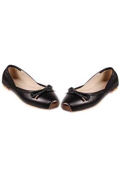 Fitted Bowknot Flat-bottomed Black Ballerina Shoes