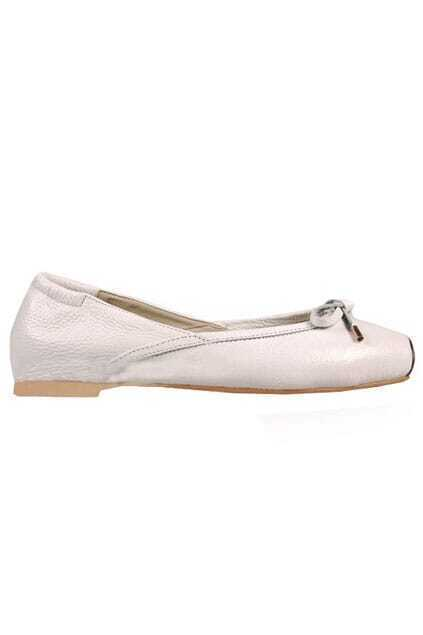 Fitted Bowknot Flat-bottomed White Ballerina Shoes