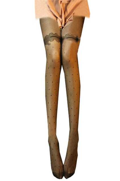 Thin Jacquard Weave Black Tights
