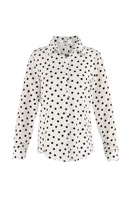 Polka Dots White Chiffon Shirt