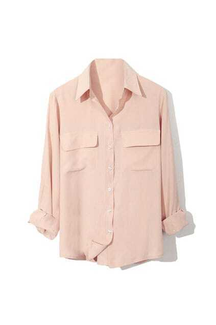 Fitted Pockets Front Nude Shirt