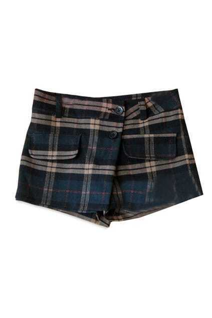 Anomalous Cut Dark Khaki Check Shorts