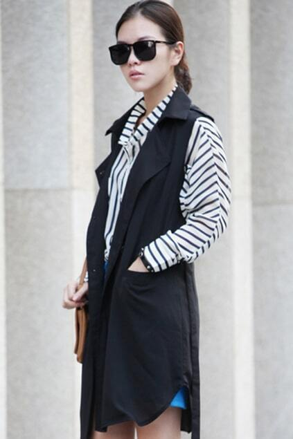 Chic Style Sleeveless Black Outwear