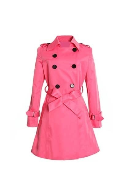 Double-breasted Fitted Epaulette Belt Rose Trench-coat