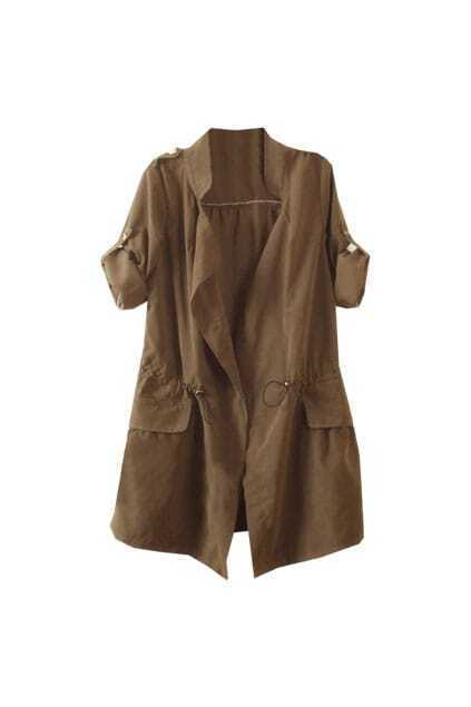 Fitted Drawstring Epaulette Coffee Trench Coat