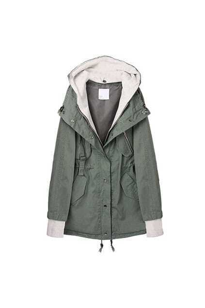 Simple Fitted Hat Army-green Trench Coat