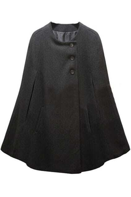 Single-breasted Design Fitted Pockets Black Cape