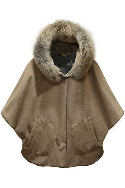 Fitted Big Pockets Camel Cape