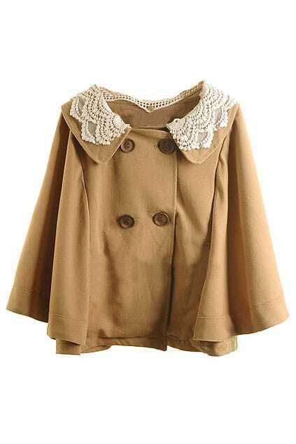 Dismountable Fitted Lace Khaki Cape
