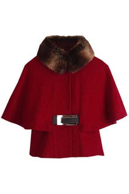 Batwing Sleeve Shearling Red Coat