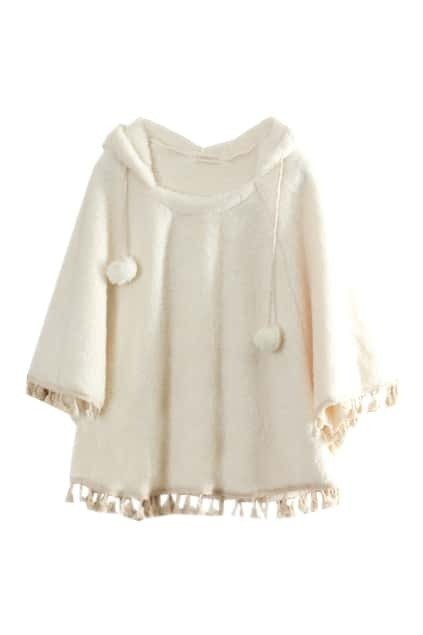 Fitted Hat Vertical Balls Cream Cape