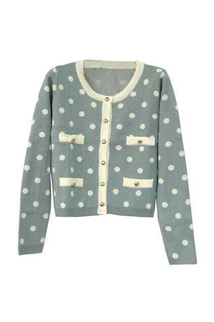 Sweet Dots Print Blue-grey Cardigan
