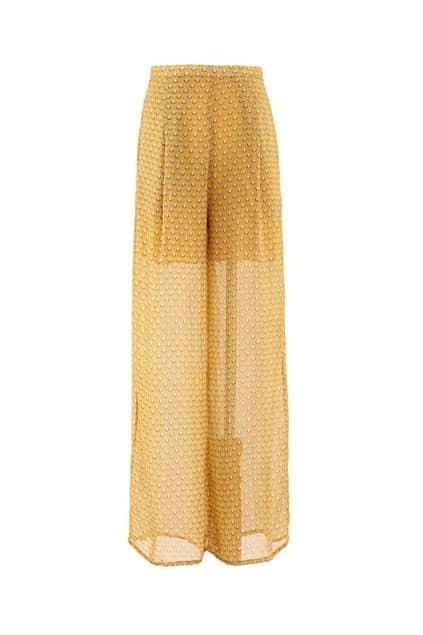 Chiffon Print Yellow Wide Leg Pants
