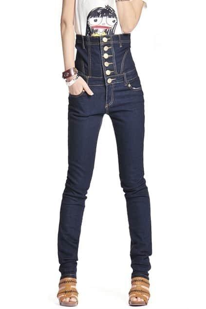 High Waist Corset Dark Blue Jeans
