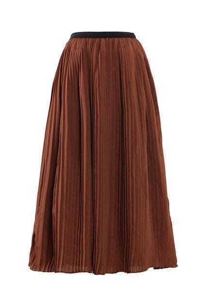 Elasticateded Waistband Pleated Coffee Skirt