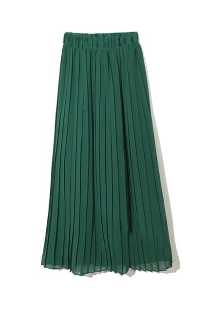 Wild Pleating Green Long Skirt