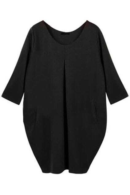 Loose Oversized Pockets Black Dress