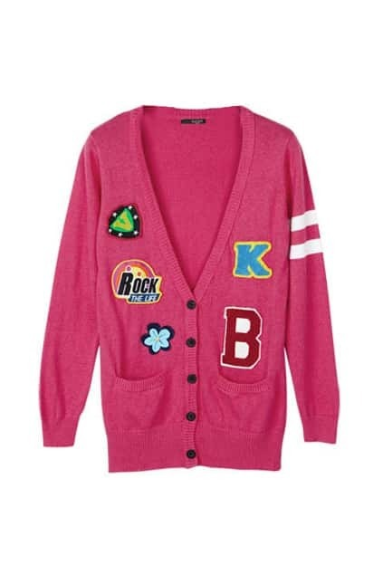 Fashion Patch Pockets Rose Cardigan
