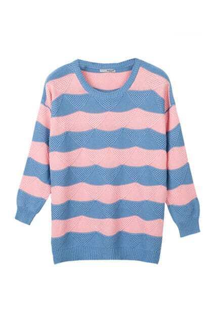 Chic Style Strips Light Blue Jumpers