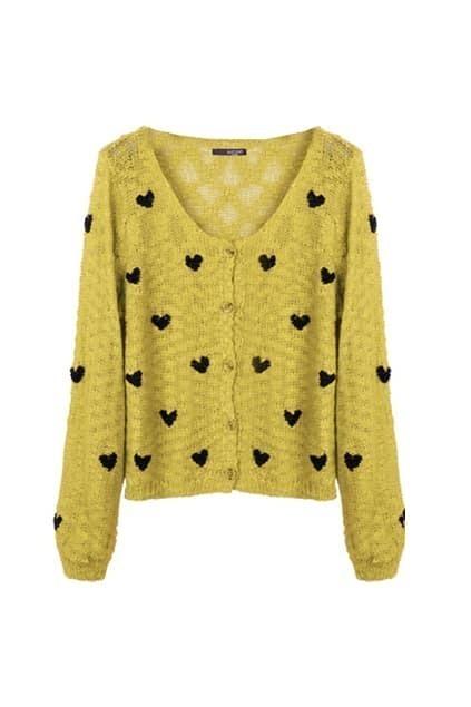 Black Heart Detail Yellow Cardigan