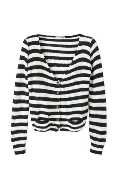 Black White Strips Short Cardigan
