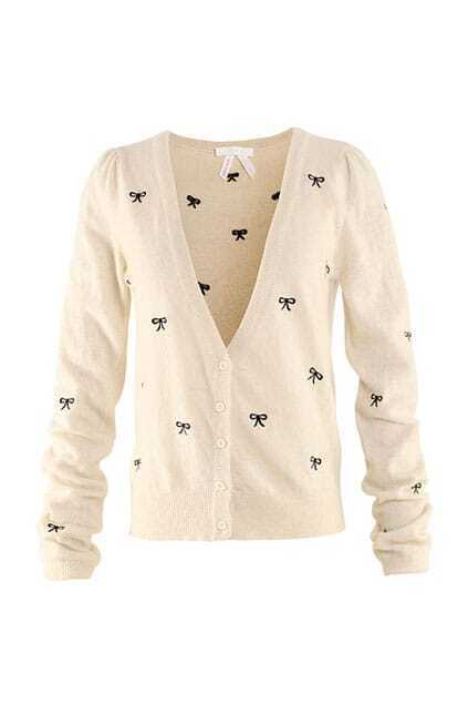 Knitted Bowknot Print Beige Cardigan