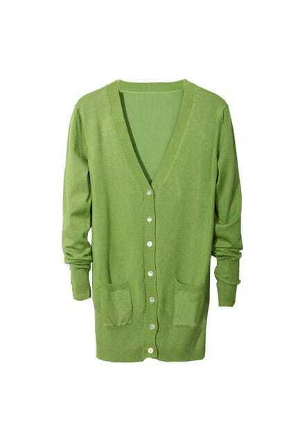Fitted Pockets V-neck Green Cardigan
