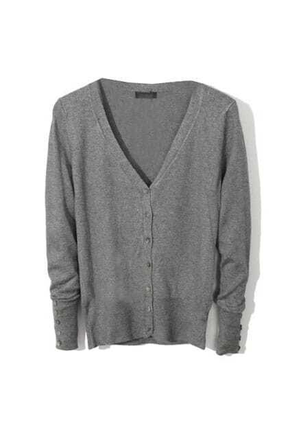 V-neck Thin Dark Grey Cardigan
