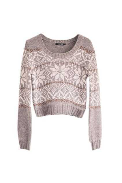 Snowflake Printed Thin Cuff Jumpers