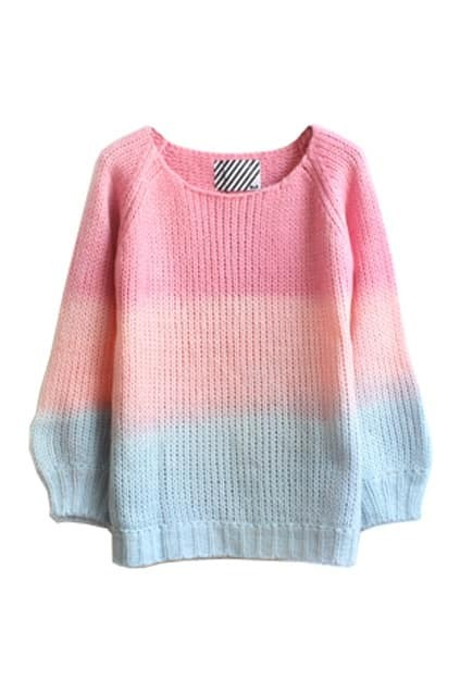 Gradient Colour Puff Sleeve Jumpers