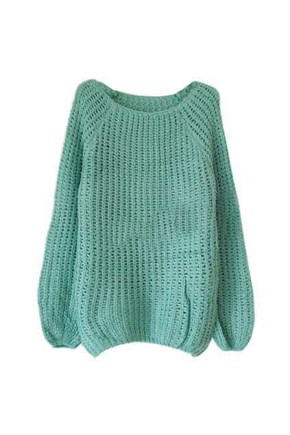 Batwing Puff Sleeve Green Jumpers