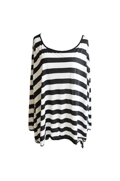 Loose Striped Black T-shirt