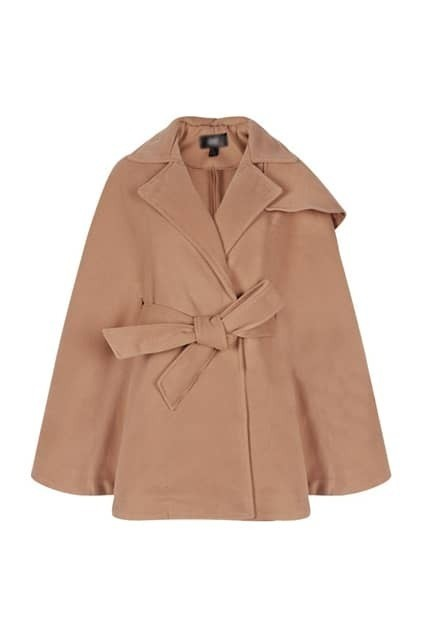 Fitted Belt Lapel Camel Cape
