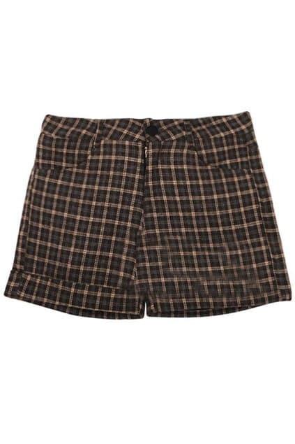Retro Turnup Bottom Latticed Brown Shorts