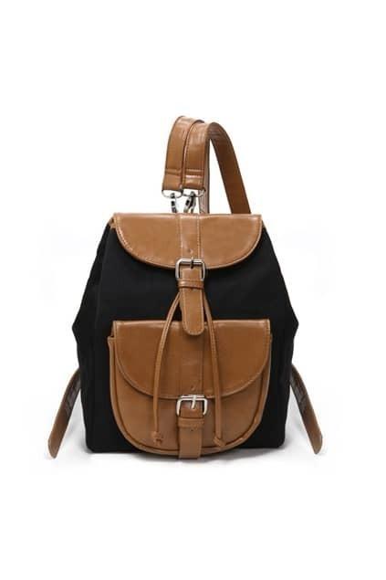 Contrast Color Black Shoulders Bag
