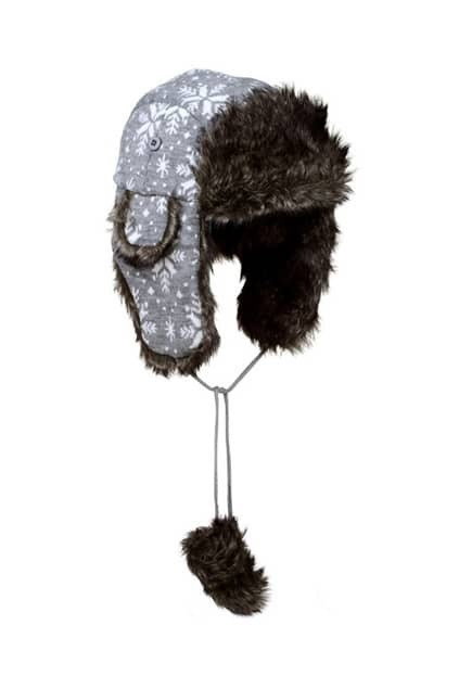 Snowflake Print Knitted Grey Trapper Hat