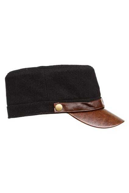 Color Block Black Military Cap