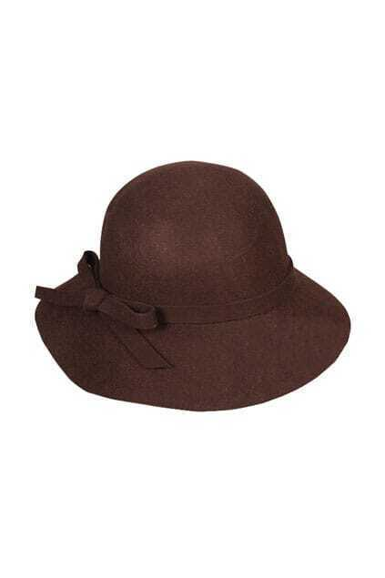 Retro Fitted Bowknot Coffee Cartwheel Hat
