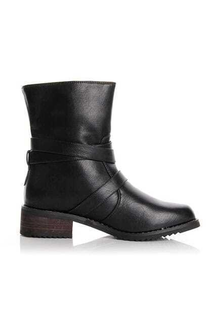 Punk Fitted Belt Hasps Black Boots