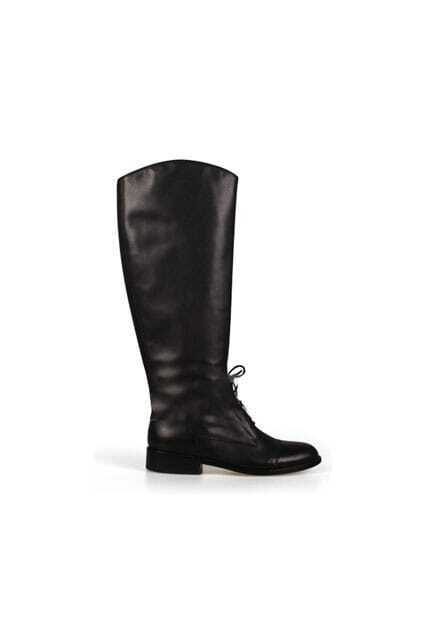 Fitted Lacing Flat-bottomed Black Boots