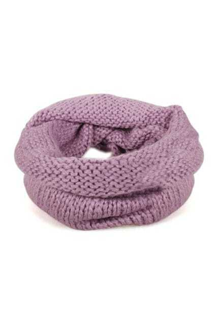 Loose Warm Knitting-wool Light-purple Sacrf