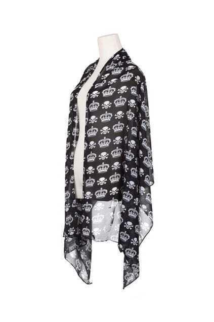 Feminine Skull Print Black Scarf