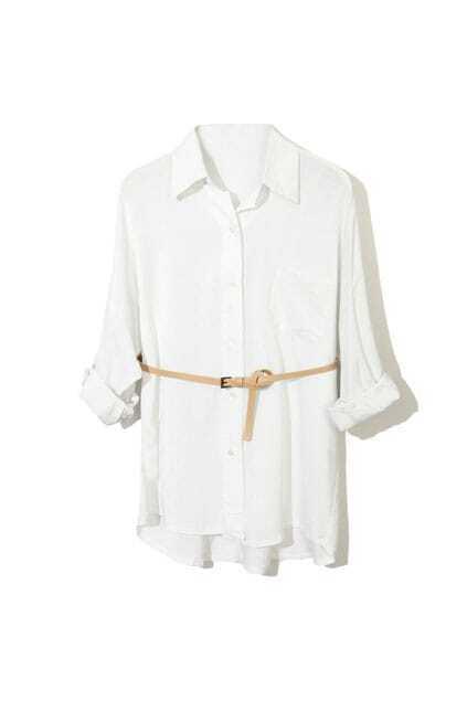 Basic Fitted Pocket White Shirt