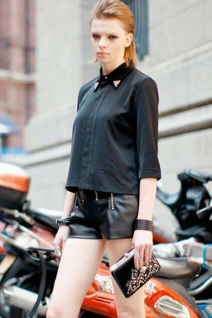 Rivet Collar Cropped Black Shirt