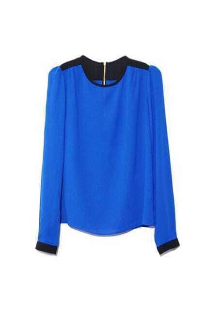 Contrast Color Blue Chiffon Shirt