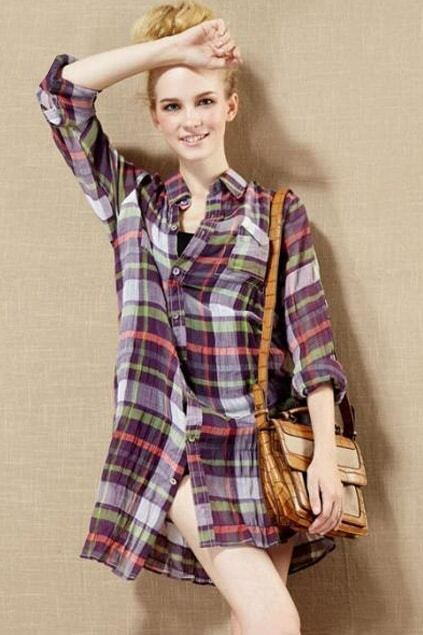 Fine Check College Style Oversized Shirt